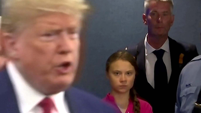 Greta Thunberg, Trump'a BM İklim Zirvesi'nde sert bir bakış attı