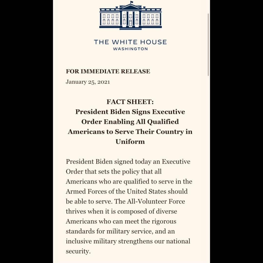 Beyaz Saray tarafından yayımlanan bildiri: Joe Biden Tüm Nitelikli Amerikalıların ülkelerine üniformalı olarak hizmet vermelerine olanak sağlayan bir yönetici kararı imzaladı - Siberdefter