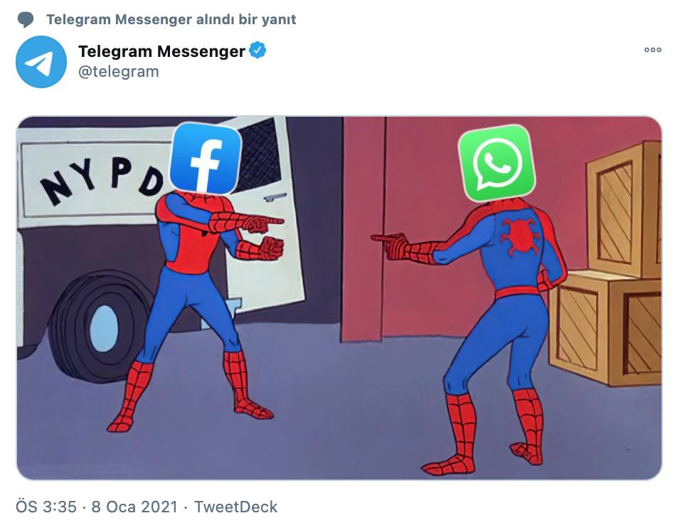 Telegram messenger'ın facebook ve whatsapp ile dalga geçtiği tweet paylaşımı