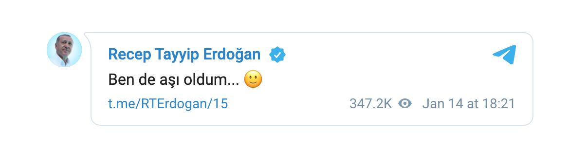 Cumhurbaşkanı Erdoğan'ın telegram paylaşımı